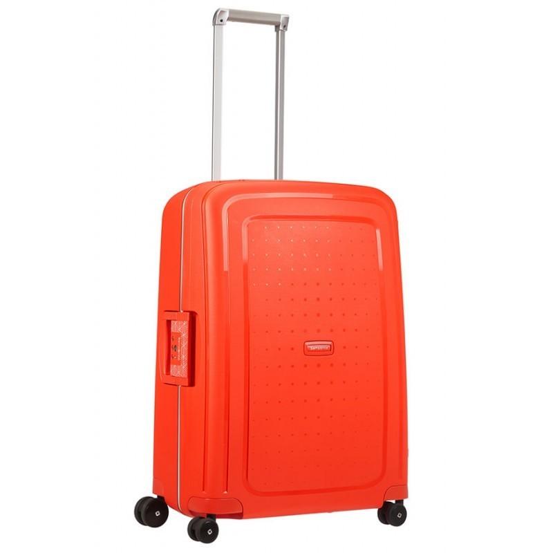 Keskmise suurusega kohver Samsonite S-Cure V punane Fluo Red Capri